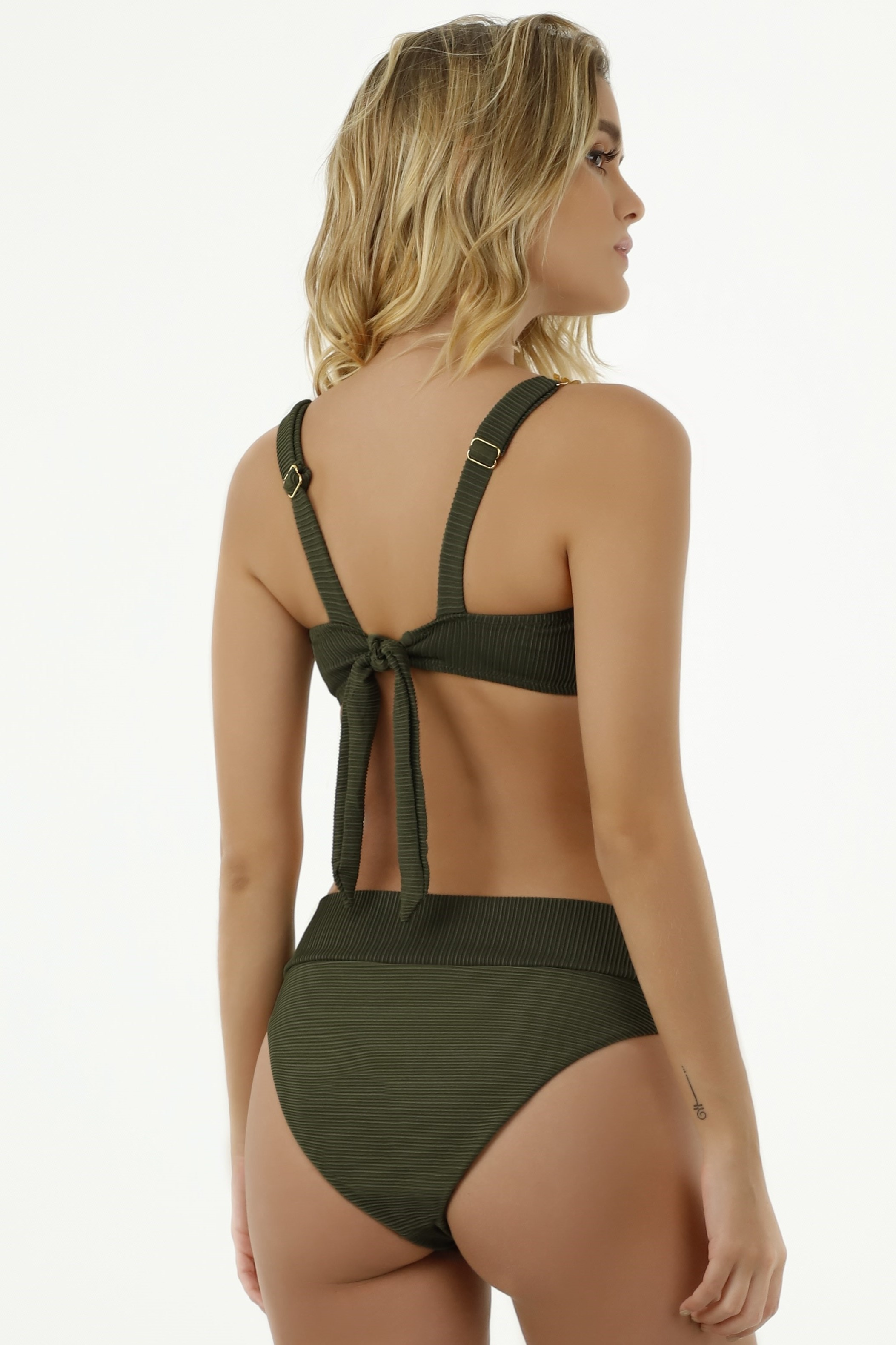 Milonga Texture High Waisted Bikini Green