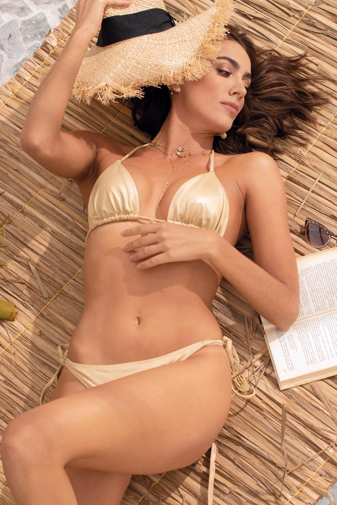 Milonga Palette Triangle Scrunch Bikini Gold