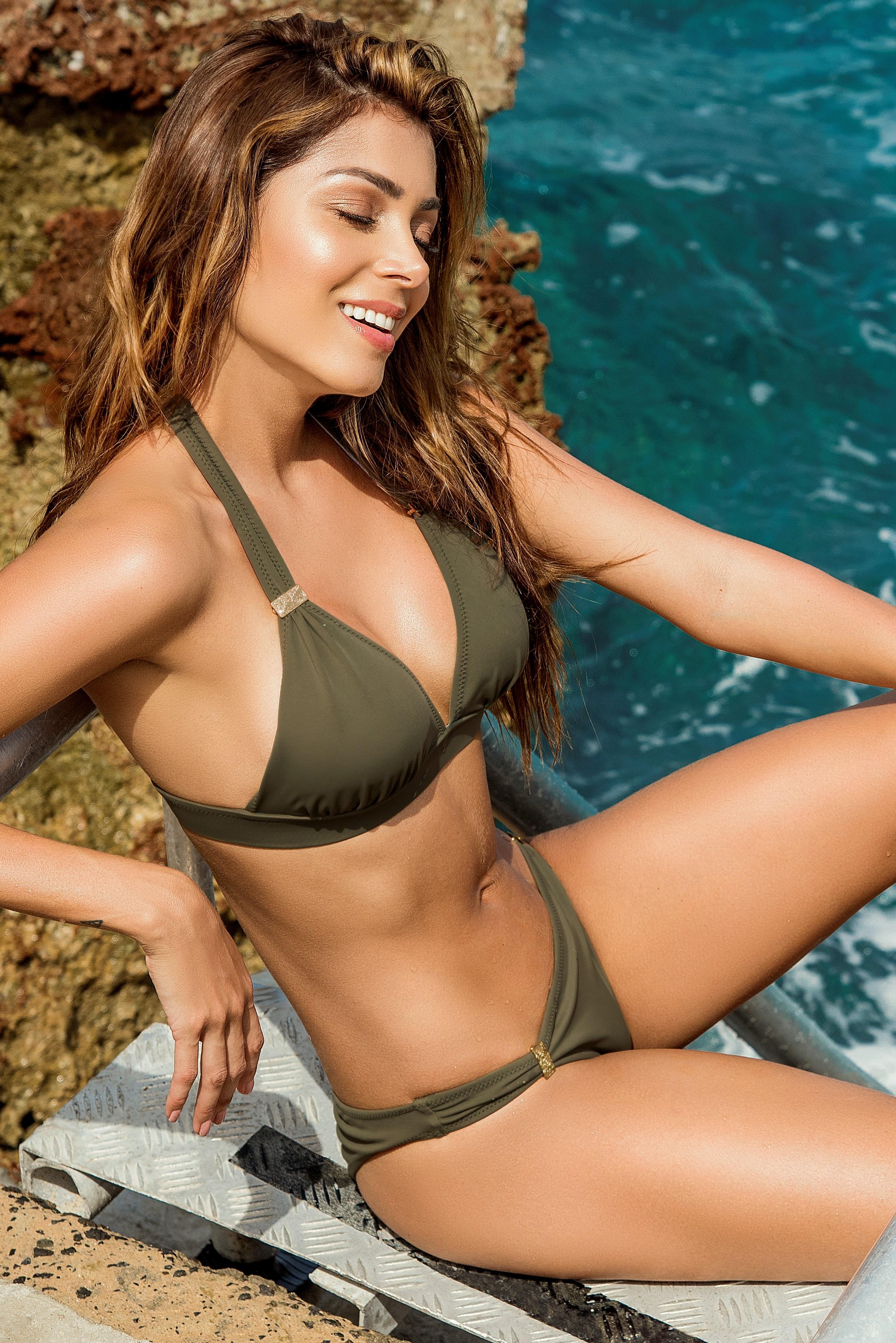 Phax Khaki groene halter bikini