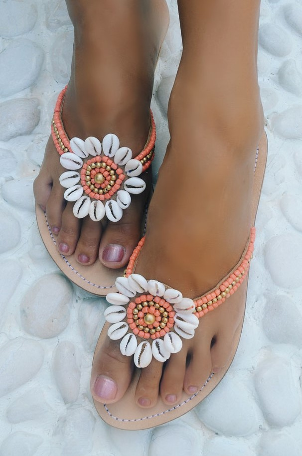 Hot Lava Slippers Flower Power Coral -38-Koraal