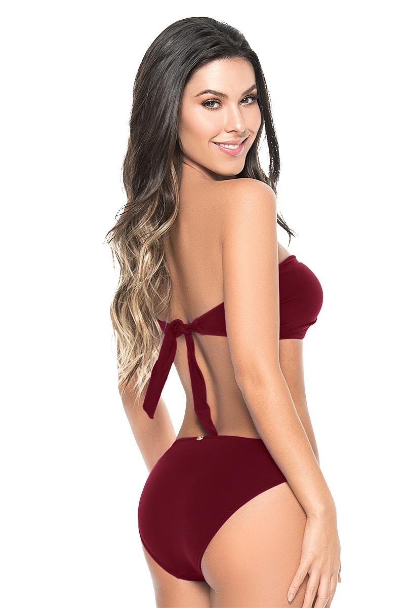 Phax Bordeaux Rode Twist Bandeau Bikini