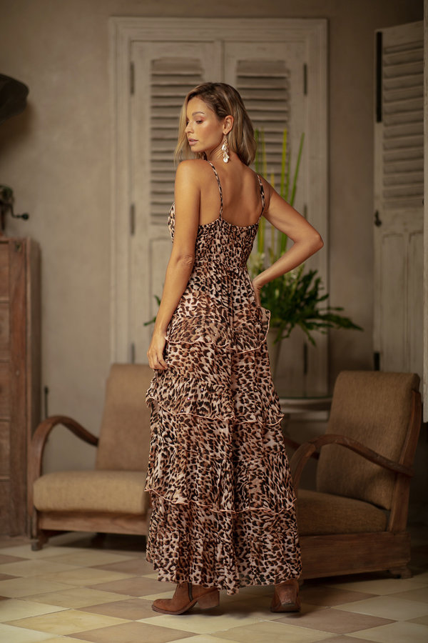 Miss June Peach Leopard Long Dress Kalimba-Uniek-Animal Print