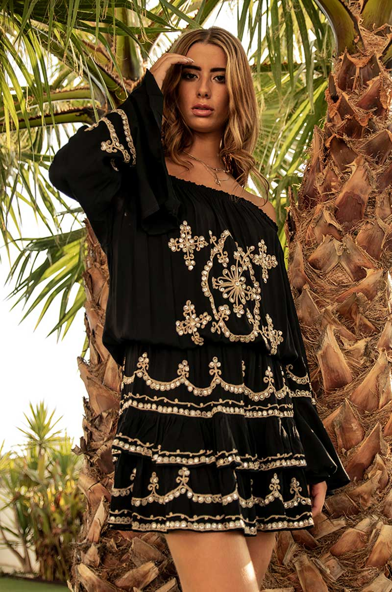 Beach Fashion Only Luxury Off-Shoulder Dress Black
