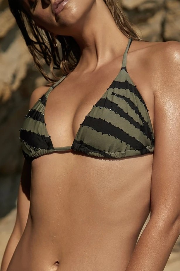Pilyq Swim Tiger Lily Geborduurde Triangel Bikini Top