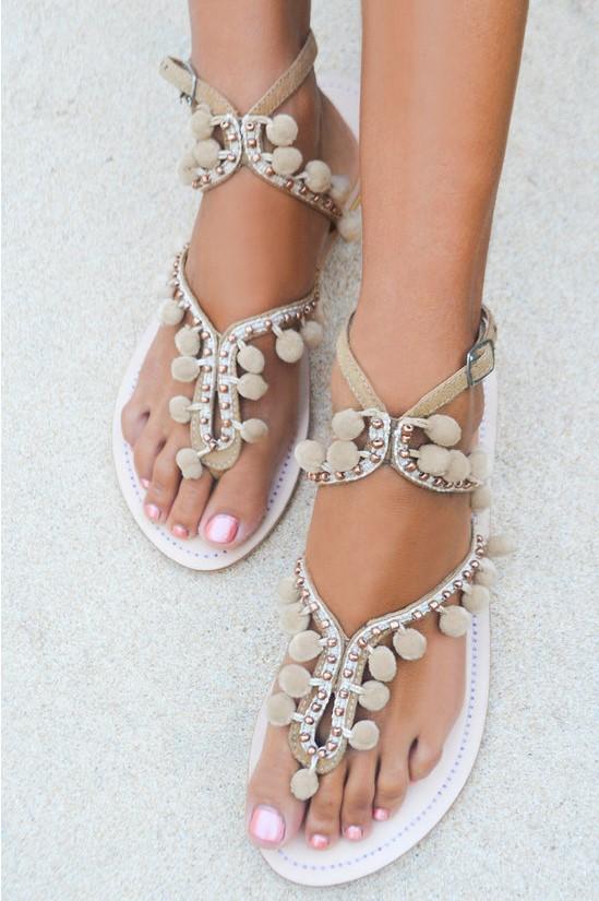 Hot Lava Sandals Lulu Pom Pom Beige-40-Beige
