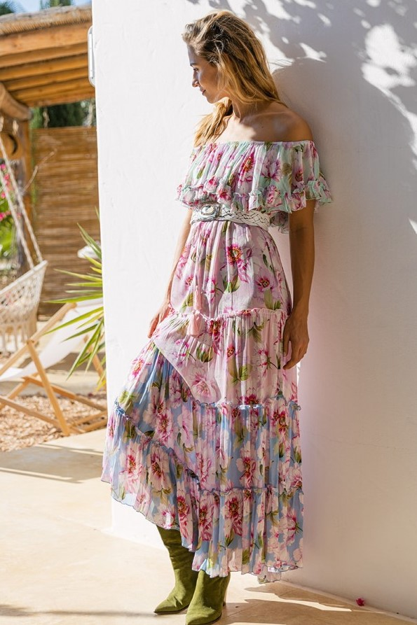 Miss June Long Dress Roses Multicolor