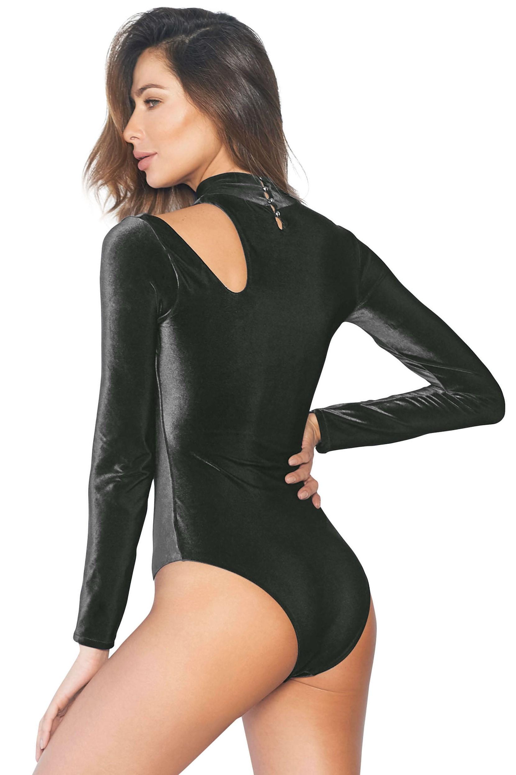 Cosita Linda Kenia Black Velvet Swimsuit Long Sleeves-medium-Zwart