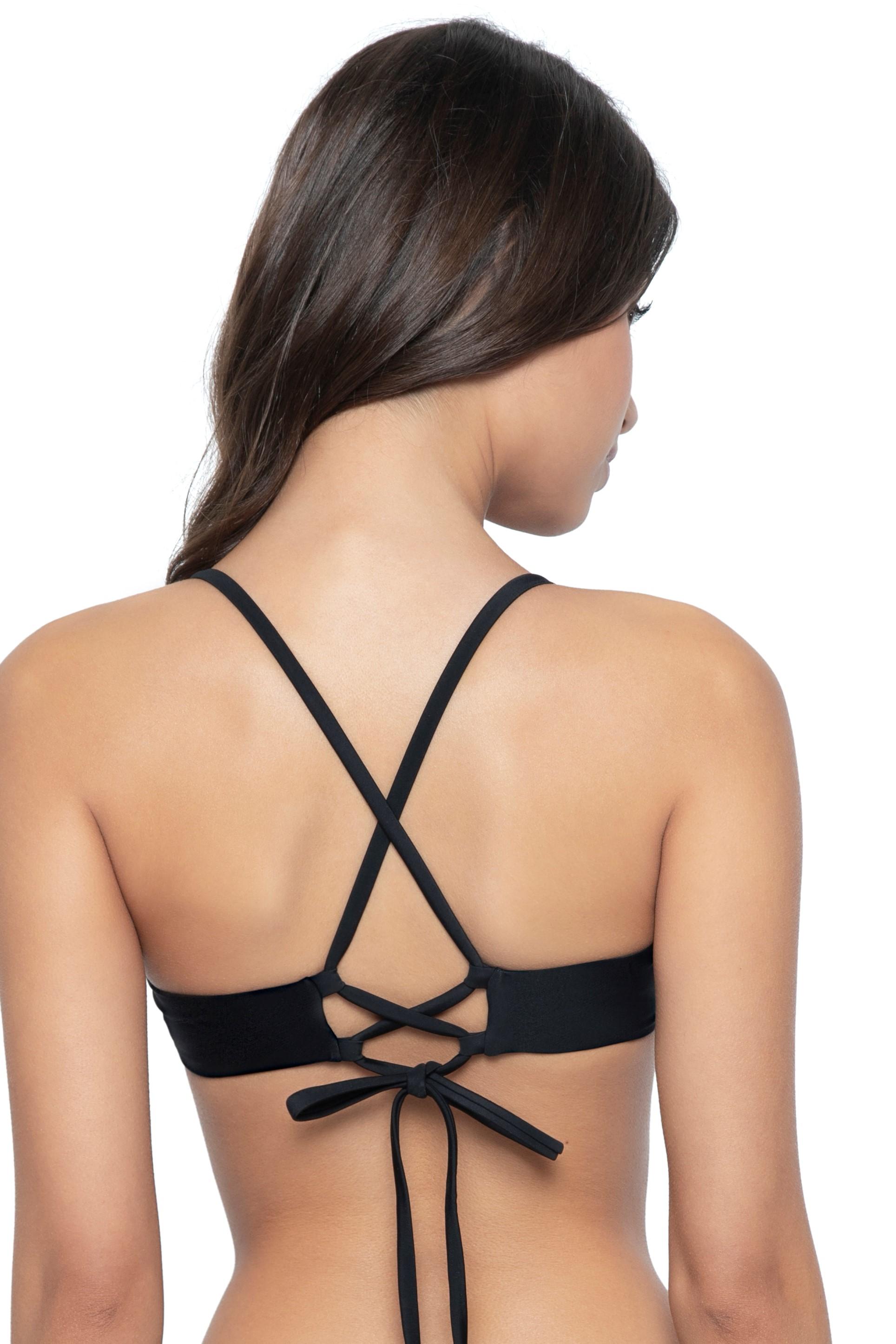 Pilyq Swim Midnight Lace Wire Bikini Top Black