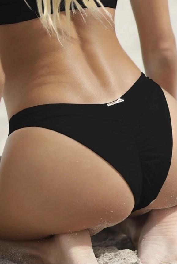 Almamia Black Scrunch Bikini Bottom