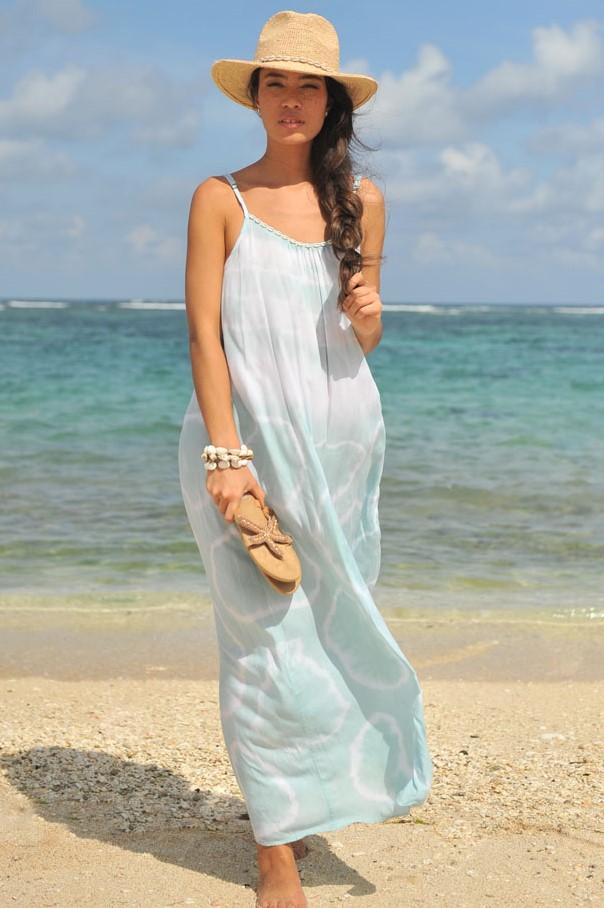 Hot Lava Dress Anna Sol Sea Mist-small-Wit met blauw