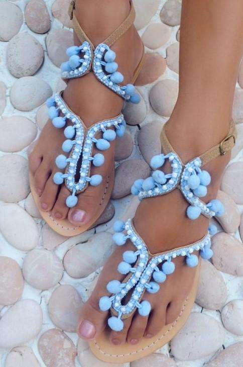 Hot Lava Sandals Lulu Pom Pom Lavender-38-Lavendel