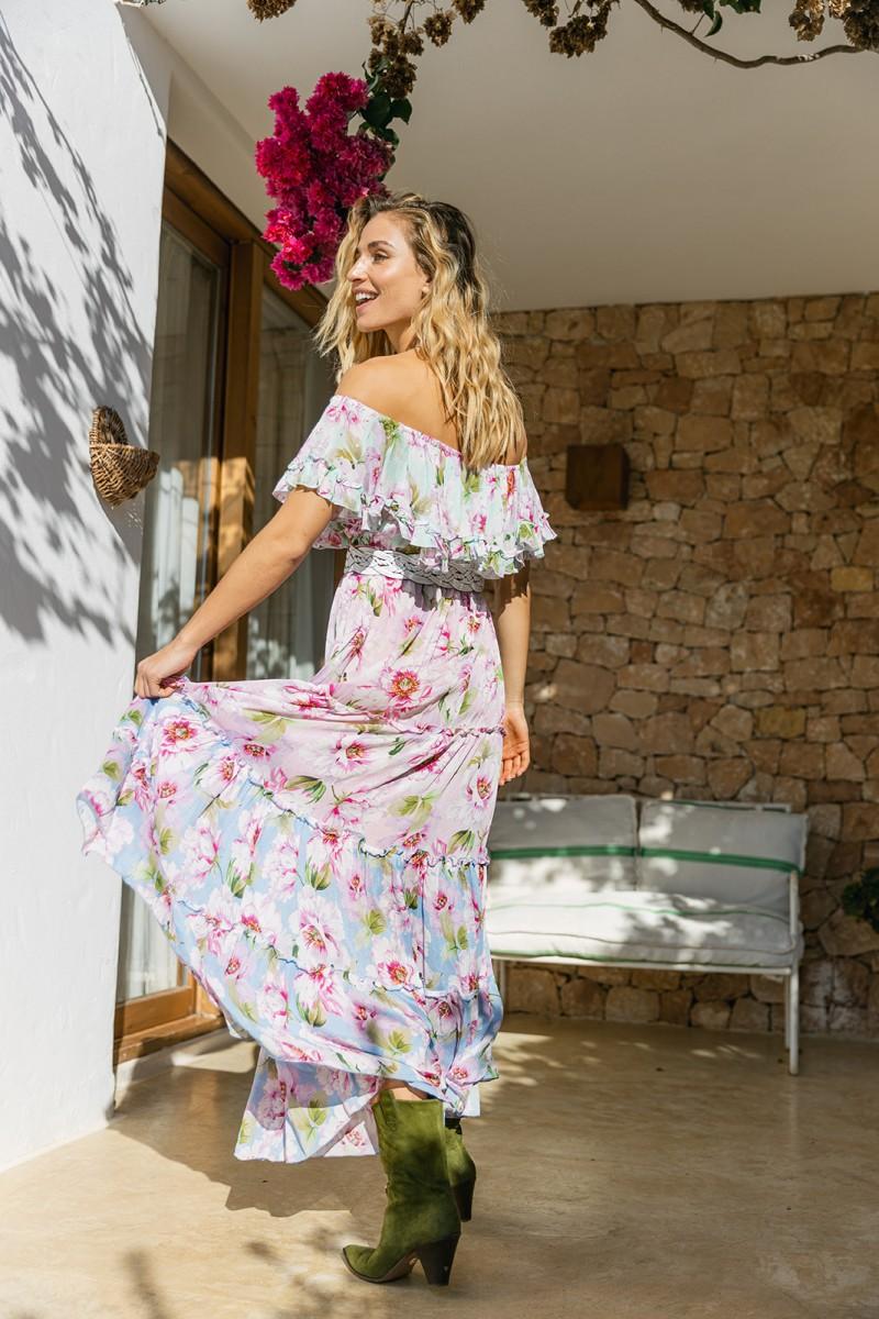 Miss June Long Dress Roses Multicolor