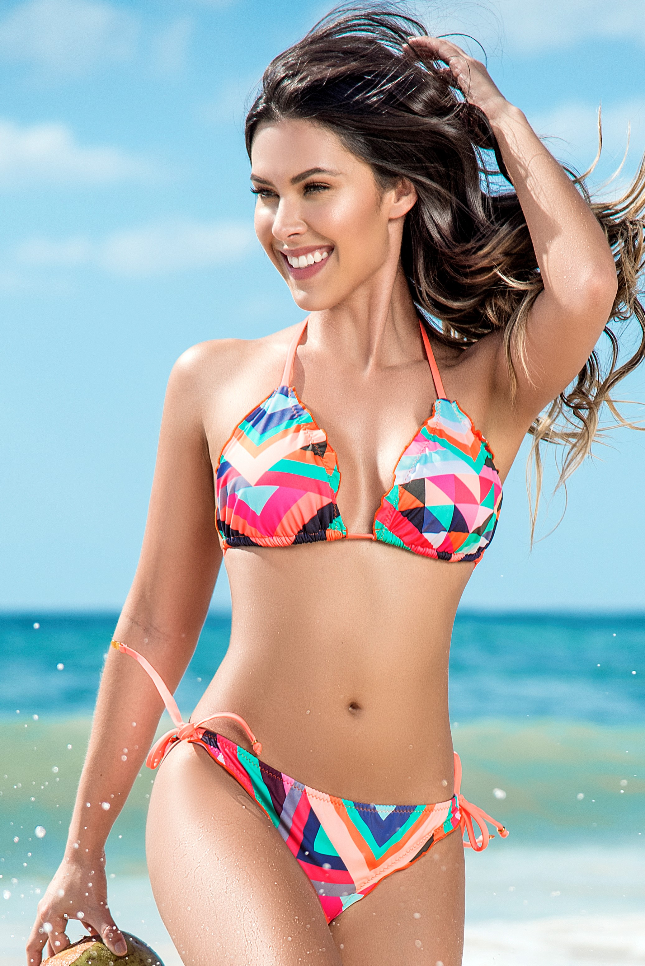 Phax Retro Pop Triangle Ruffle Bikini