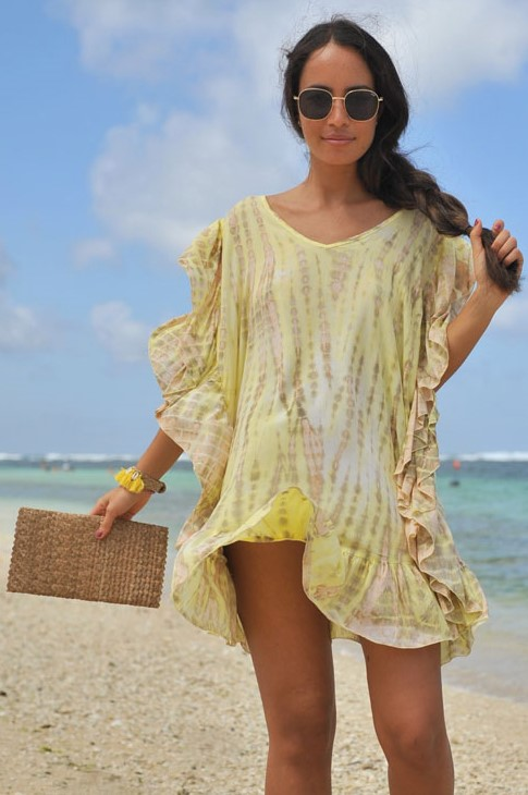 Hot Lava Poncho Ruffle Moonstone Yellow-Smal/Medium-Geel