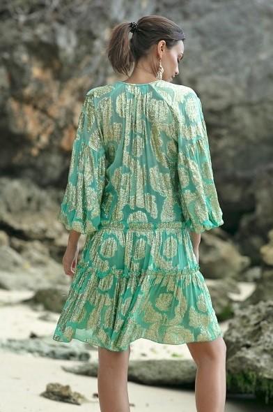 Miss June Short Dress Jacquard Agua-Uniek-Blauw