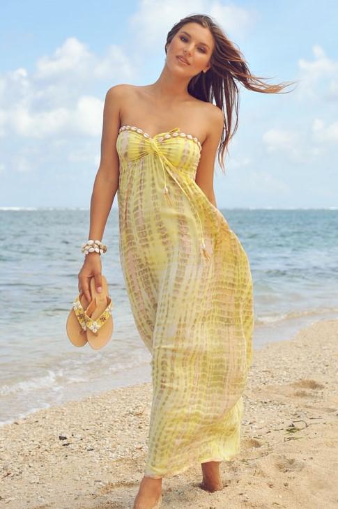 Hot Lava Dress Antibes Moonstone Yellow-large-Geel