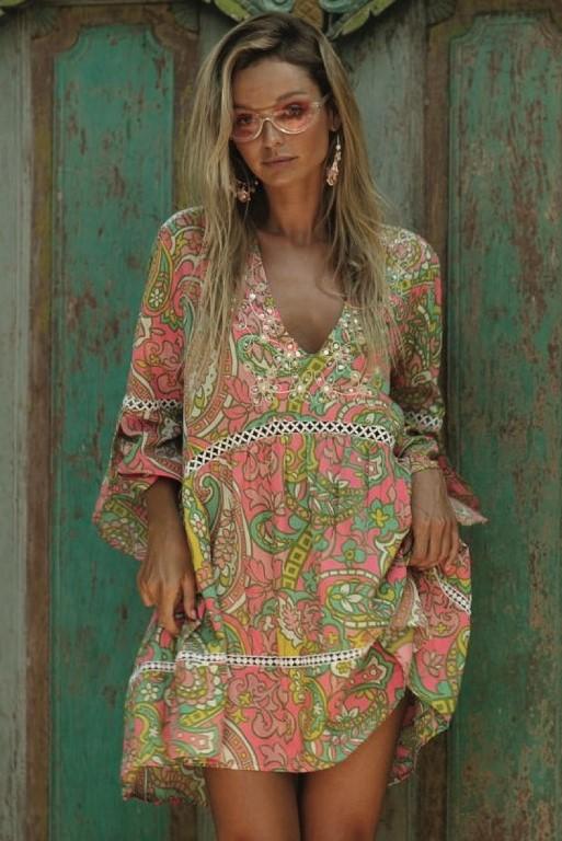 Miss June Short Dress Cozy-Uniek-Multicolour