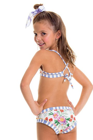 Milonga Romantic Flowers Bloemenprint Kinder bikini-10 jaar-Multicolour