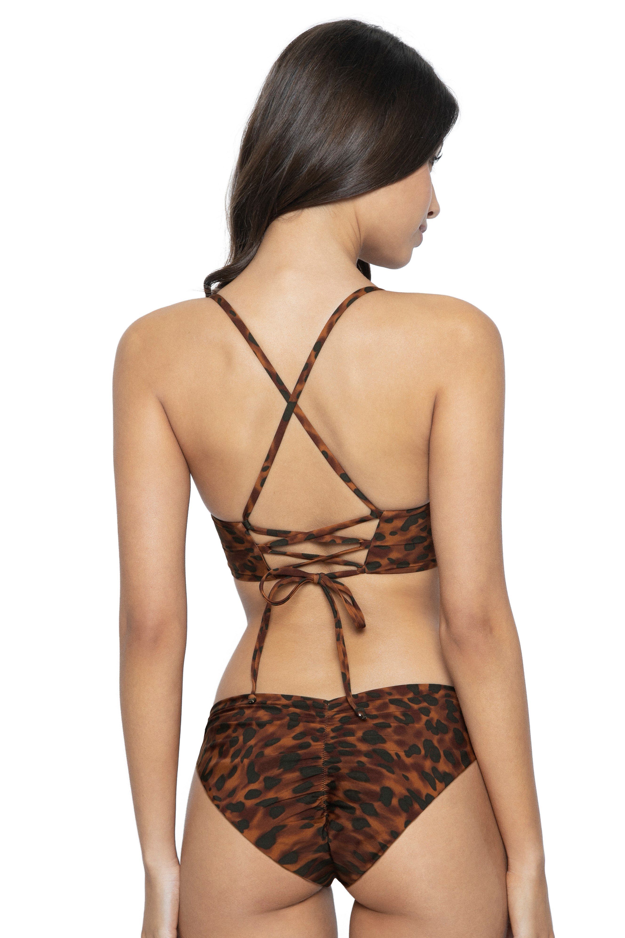 Pilyq Swim Wild Heart Corset Bralette Scrunch Bikini