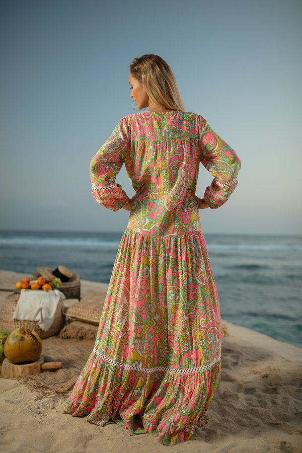 Miss June Maxi Zomerjurk Banjo-Uniek-Multicolour