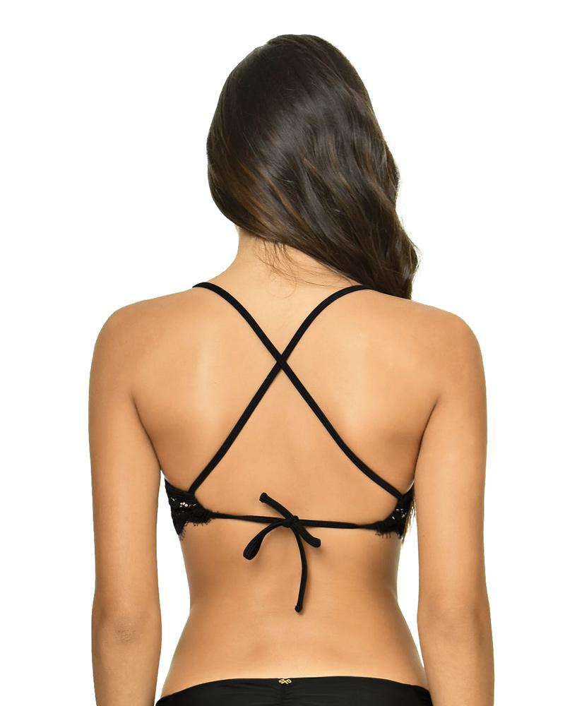 Pilyq Swim Midnight Kanten Bralette Bikini Top Zwart