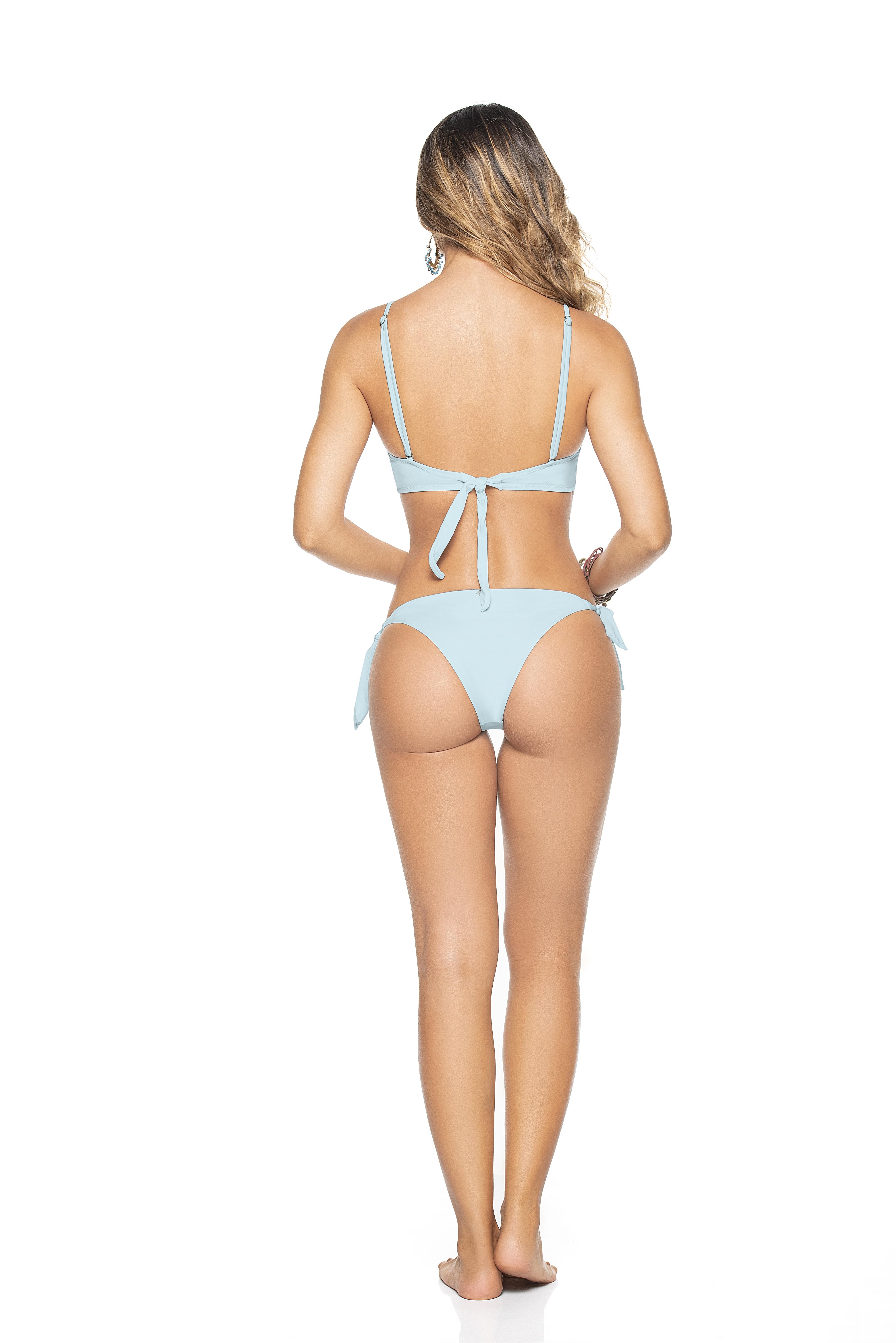 Phax Licht Blauwe Triangel Tie Side Bikini Macaron