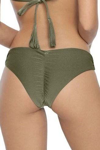 Pilyq Swim Moss Scrunch Bikini Bottom Khaki Green